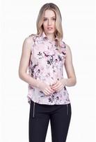 Select Fashion Fashion Womens Pink Floral Sleeveless Satin Shirt - size 6