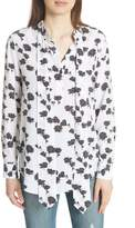 Equipment Carleen Tie Neck Floral Silk Blouse
