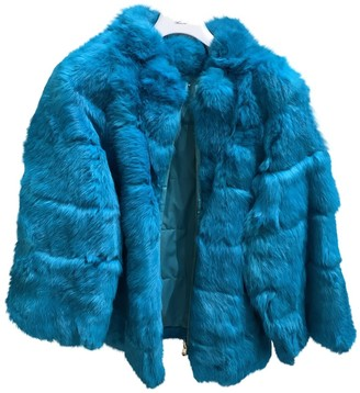 Blumarine Blue Rabbit Coat for Women