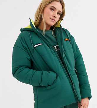 Ellesse oversized padded jacket with chest logo and contrast neon lining