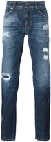 Dolce & Gabbana distressed jeans - men - Cotton/Calf Leather/Spandex/Elastane/Zamak - 44