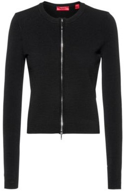 HUGO BOSS Slim-fit zip-through jacket with knitted ottoman structure
