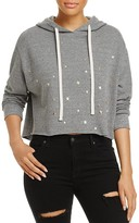 Monrow Star Print Cropped Hooded Sweatshirt