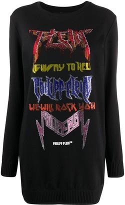 Philipp Plein Rhinestone-Embellished Sweatshirt Dress