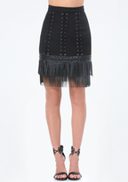 Bebe Fringe Hem Lace Up Skirt