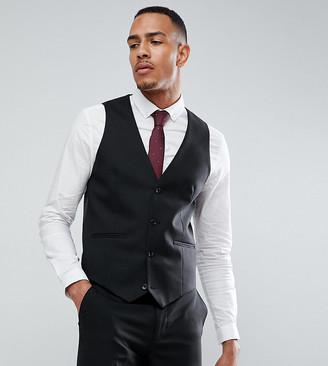 ASOS DESIGN Tall skinny suit vest in black