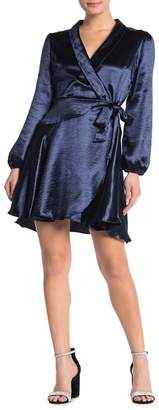 Vanity Room Satin Shawl Collar Wrap Mini Dress