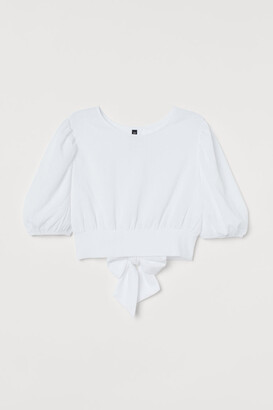 H&M Balloon-sleeved Top - White
