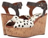 Dolce & Gabbana Polka Dot Cady Knot Cork Wedge with Raffia Strap 50mm Women's Wedge Shoes