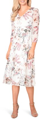Komarov Floral Chiffon Midi Dress