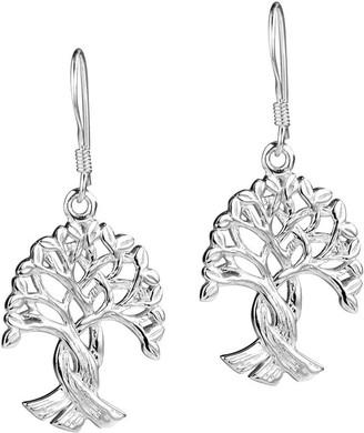 Aeravida Handmade Binding Root Tree of Life Sterling Silver Dangle Earrings