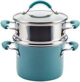 Rachael Ray Rachael RayTM Cucina Hard Porcelain Enamel Nonstick 3 qt. Multi-Pot Steamer Set in Agave Blue
