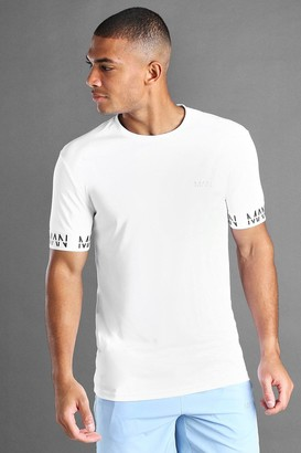 boohoo Mens White MAN Active Muscle Fit T-Shirt With MAN Cuff Detail, White