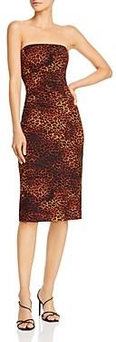 Black Halo Jackie Strapless Leopard Print Dress