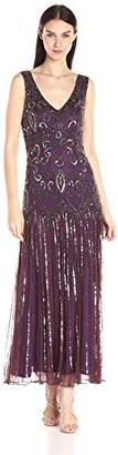 Pisarro Nights Women's Sleeveless Scroll Motif Beaded Long Dress