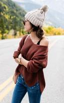 Ily Couture Rust Wide Neck Sweater