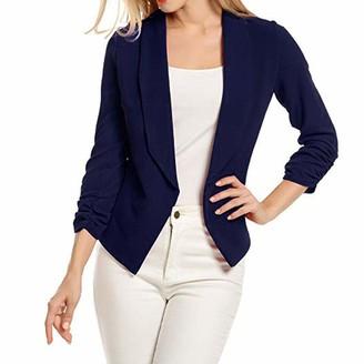 Kalorywee Sale Cleance Blazer KaloryWee Navy Blazer Women Open Front Blazer Casual 3/4 Sleeve Work Office Suit Jacket