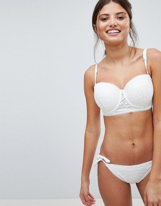 Lepel London White Sands Lace Tie Side Bikini Bottom