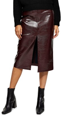 Crocodile Faux Leather Pencil Skirt