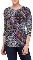Allison Daley Wide Crew Neck Blue Patch Print Knit Top
