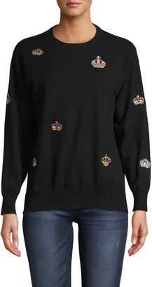 Nicole Miller Cashmere Crew Neck Sweater With Crown Patches