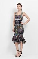 Nicole Miller Printed Tweed Peplum Dress