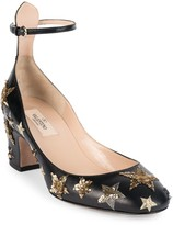 Valentino Garavani Star-Studded Leather Ankle-Strap Block Heel Pumps