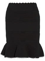 Alexander McQueen Lace-paneled Cotton-blend Mini Skirt - Black