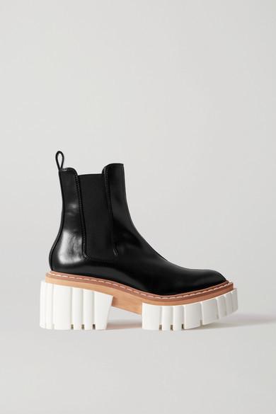 Stella McCartney Emilie Vegetarian Leather Platform Chelsea Boots - Black