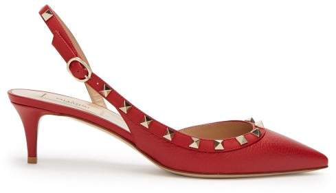 Valentino Rockstud Slingback Leather Pumps - Womens - Red