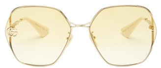 Gucci Double G-logo Geometric Metal Sunglasses - Gold