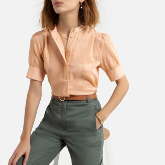 La Redoute Collections Cotton Round-Neck Blouse with Short Sleeves