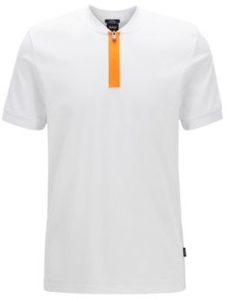 HUGO BOSS Slim Fit Polo Shirt In Cotton With Zipper Neck - White