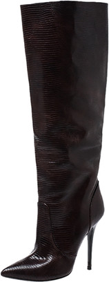 Giuseppe Zanotti Brown Lizard Embossed Leather Knee High Boots Size 40