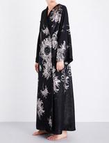 Carine Gilson Metallic silk-jacquard kimono robe
