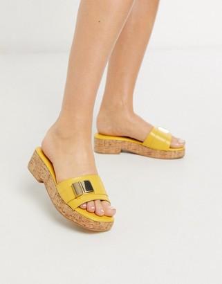 ASOS DESIGN Fairfax cork platform sandals in yellow