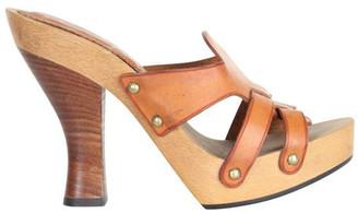 Saint Laurent Brown Leather Heel Sandals Size 36