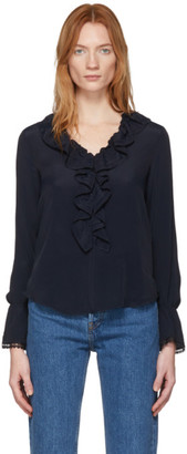 See by Chloe Navy Crepe De Chine Ruffle Front Blouse