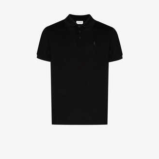 Saint Laurent Metallic Pique Polo Shirt