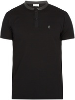 Saint Laurent Leather-collar cotton-piqué polo shirt