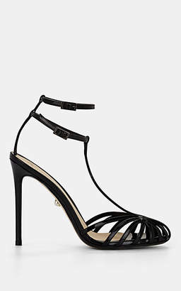 ALEVÌ Milano Women's Stella Patent Leather T-Strap Sandals - Black