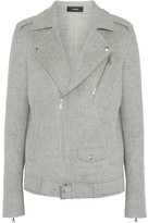 Theory Tralsmin Double-faced Wool And Cashmere-blend Biker Jacket - Gray