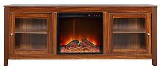 Red Barrel Studio Jordao Solid Wood TV Stand for TVs up to 65 inches with Electric Fireplace Included Red Barrel Studio