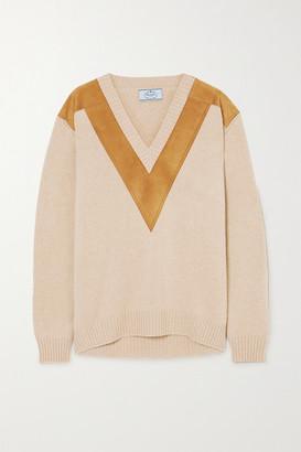 Prada Suede-trimmed Cashmere Sweater - Beige