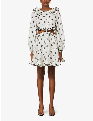 Zimmermann Love polka dot-print linen-silk blend mini dress