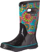 Bogs Girls' Pansies Tall Rain Boot Blk Multi 1 M US