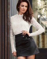Lipsy Love Michelle Keegan Button Pu Skirt