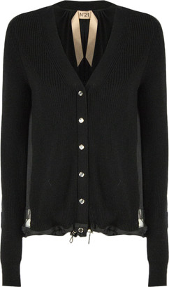 N°21 N.21 Black Ribbed-knit Virgin-wool Cardigan