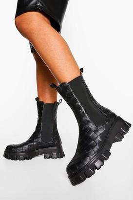 boohoo Woven Chunky Platform Calf High Chelsea Boots