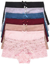 BEIGE Sofra Women's Underwear Asrtd - Pink & Lace BoyShorts - Set of Six